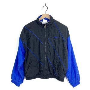 Reebok Vintage Winbreaker Black Blue Jacket Medium